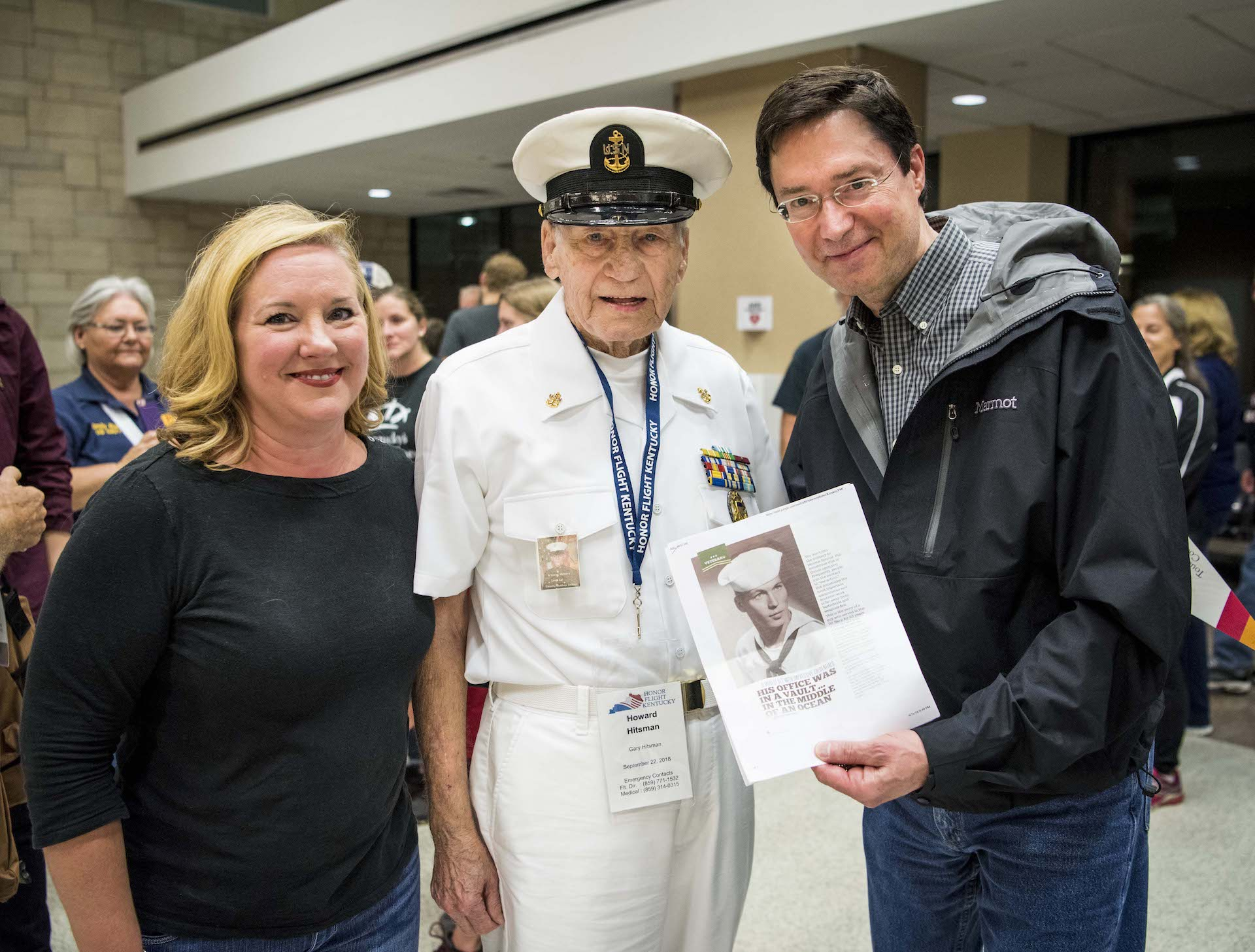 Dr. Gurley was among the hundreds who welcomed Howard home. Howard smiles for a photo with him while being welcomed home from his Honor Flight.