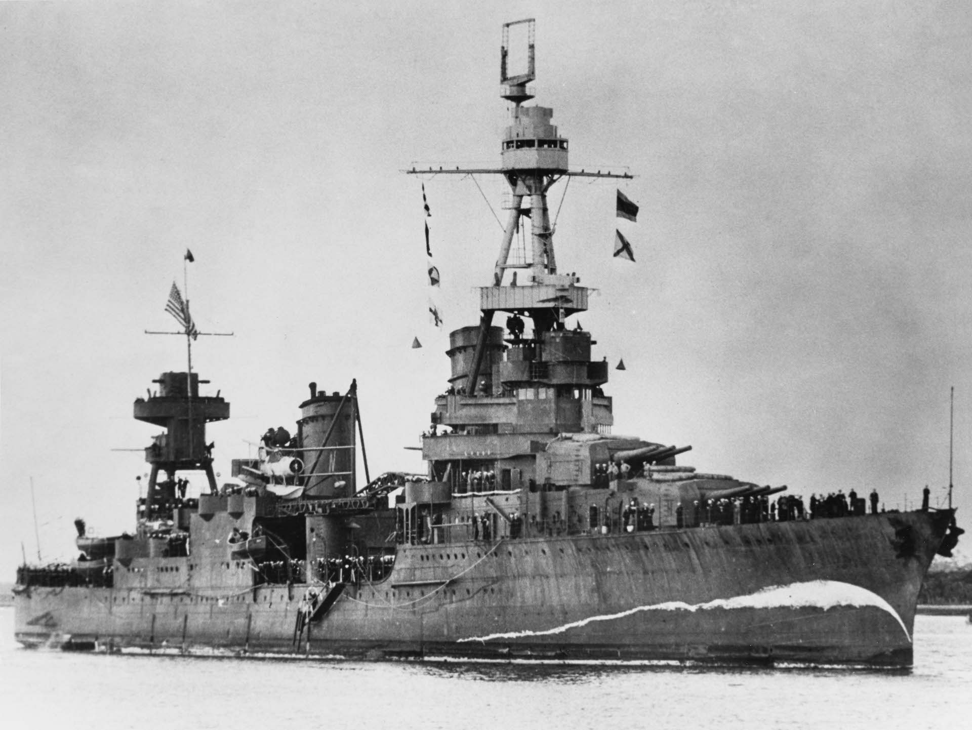 An old black and white photograph of the USS Northampton, where Howard served.