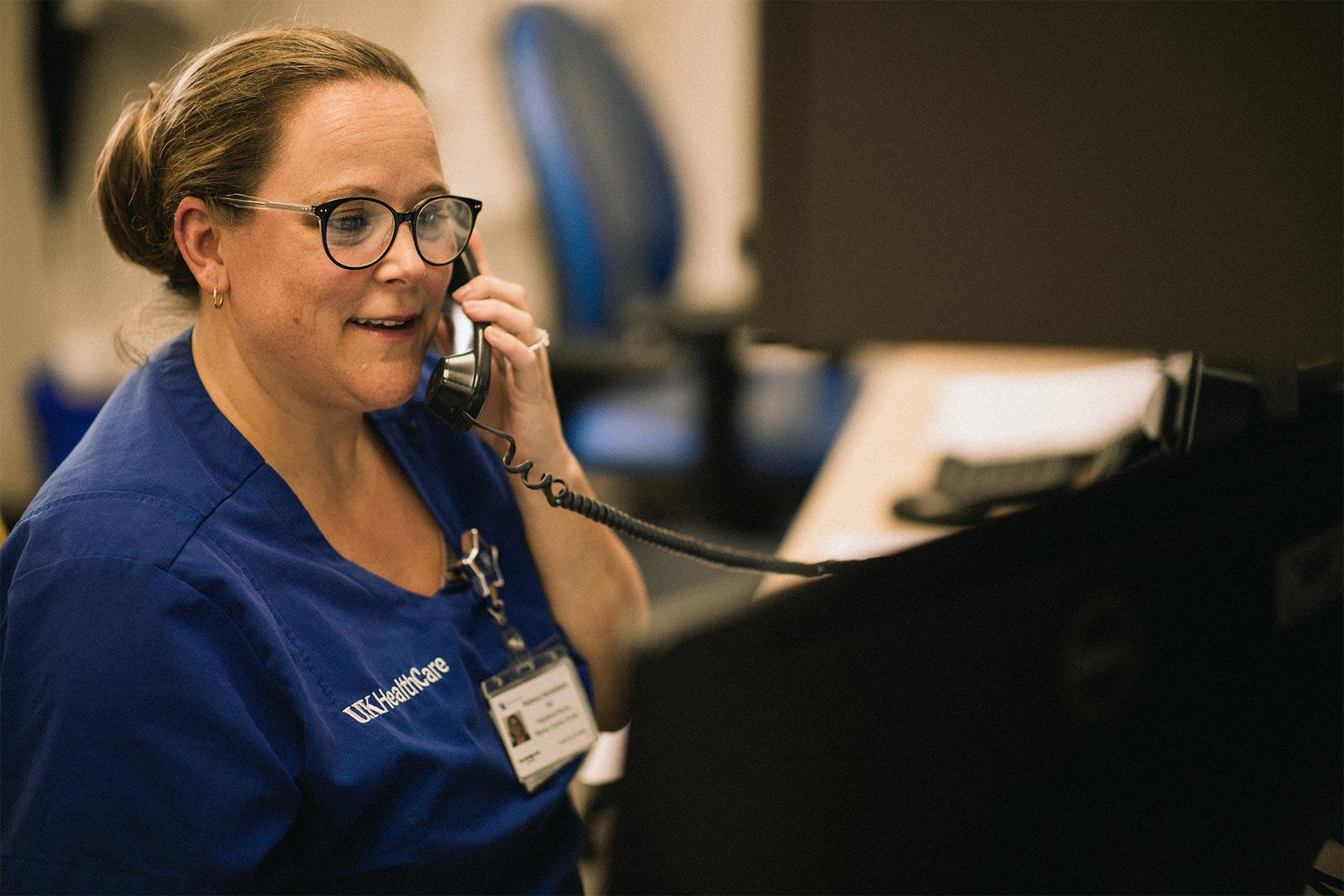Rebecca Heichelbech, a nurse at the Markey Cancer Center