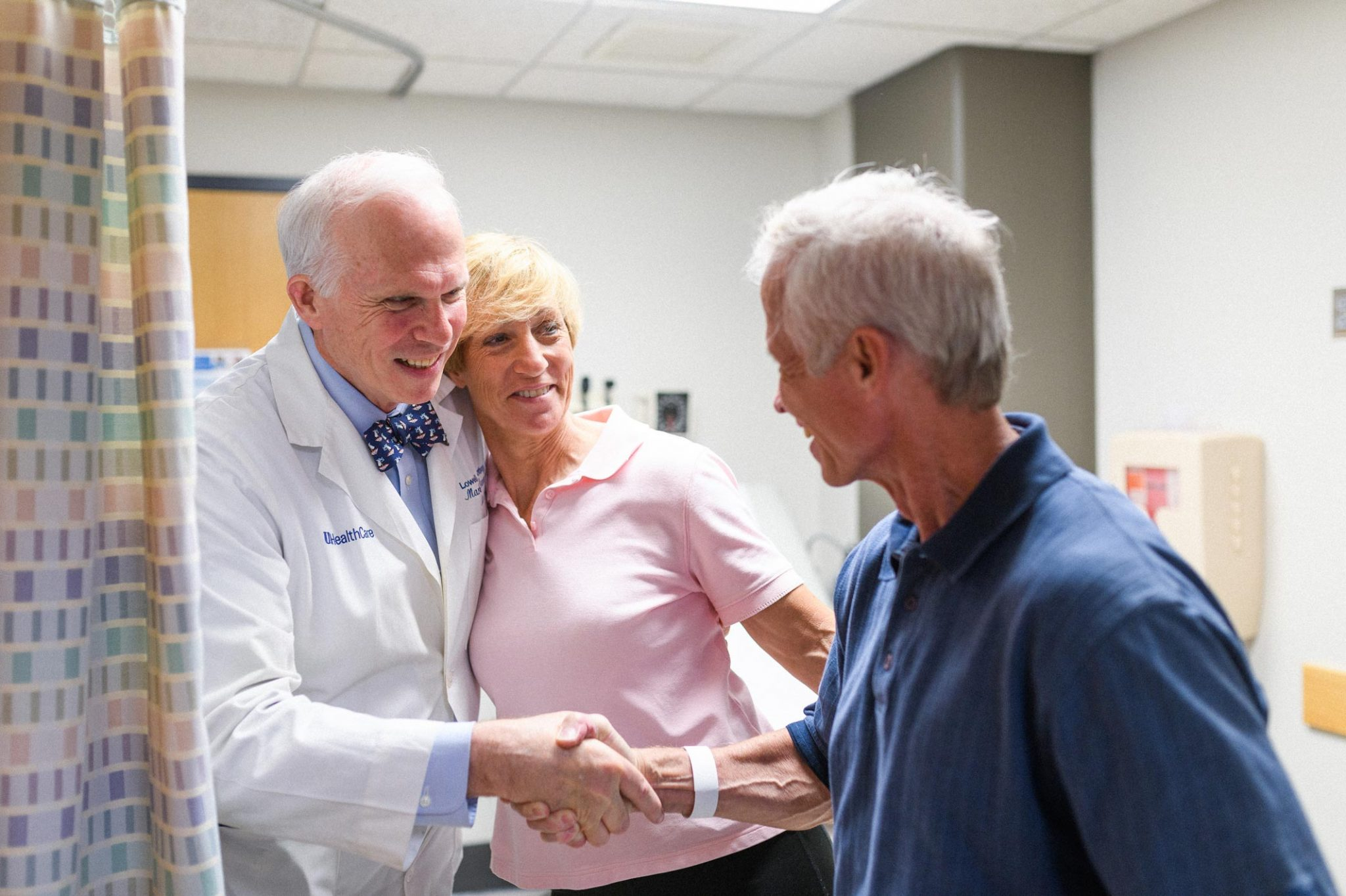 Joe and Cathy Marksteiner greeting Dr. Lowell Anthony, a specialist at Markey Cancer Center