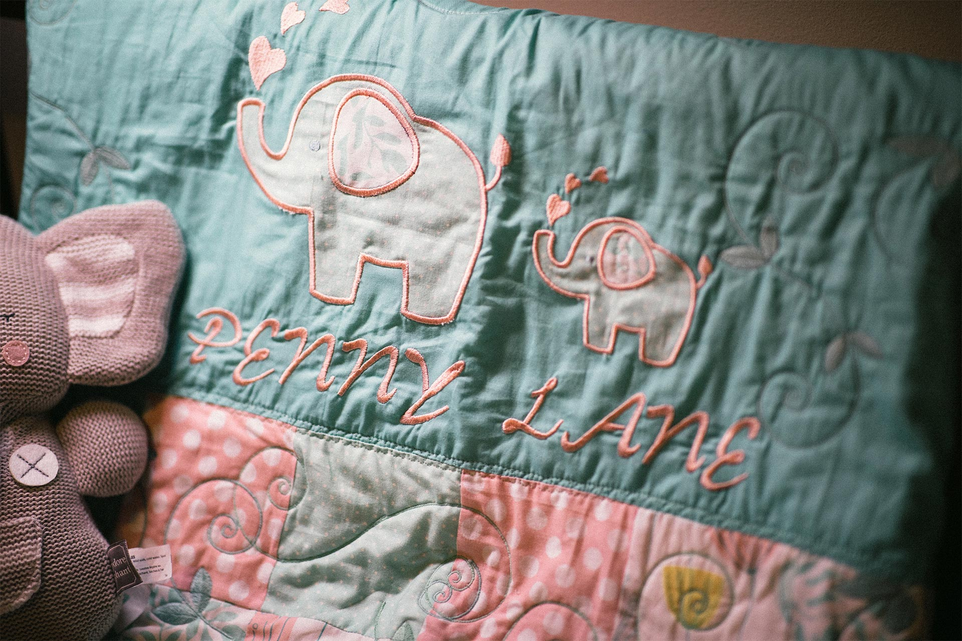 Quilt depicting elephants with name Penny Lane