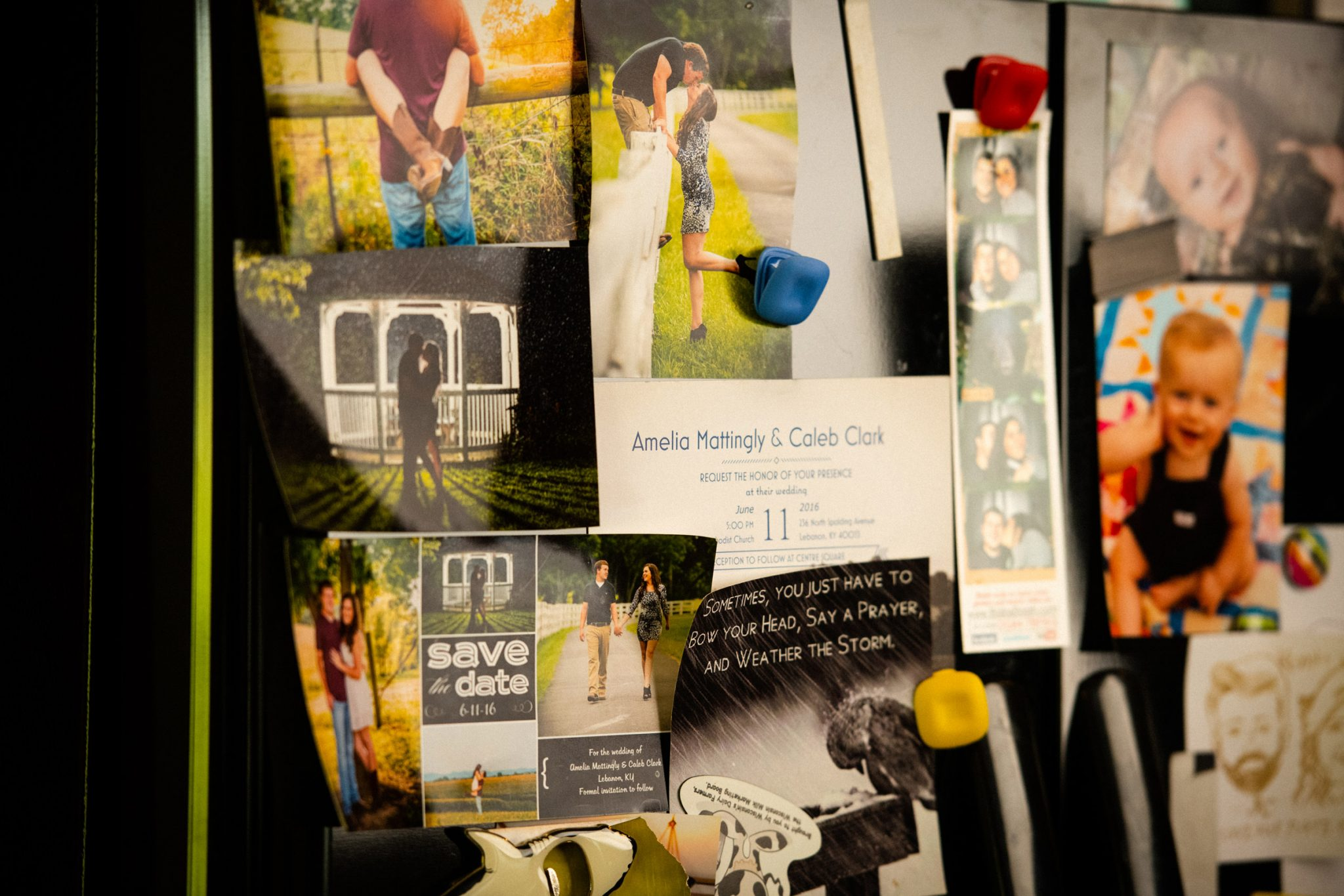 Close up of a refrigerator door covered in wedding photos and baby photos of Cason.