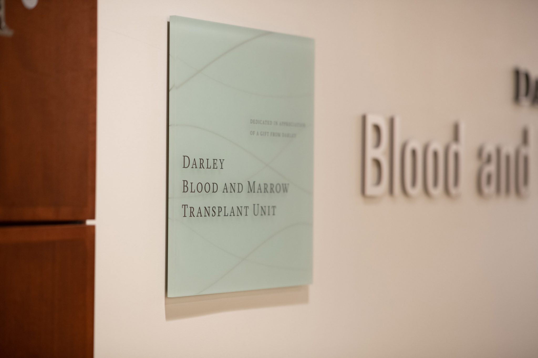 Close up of the Darley Blood and Marrow Transplant Unit entrance plaque.