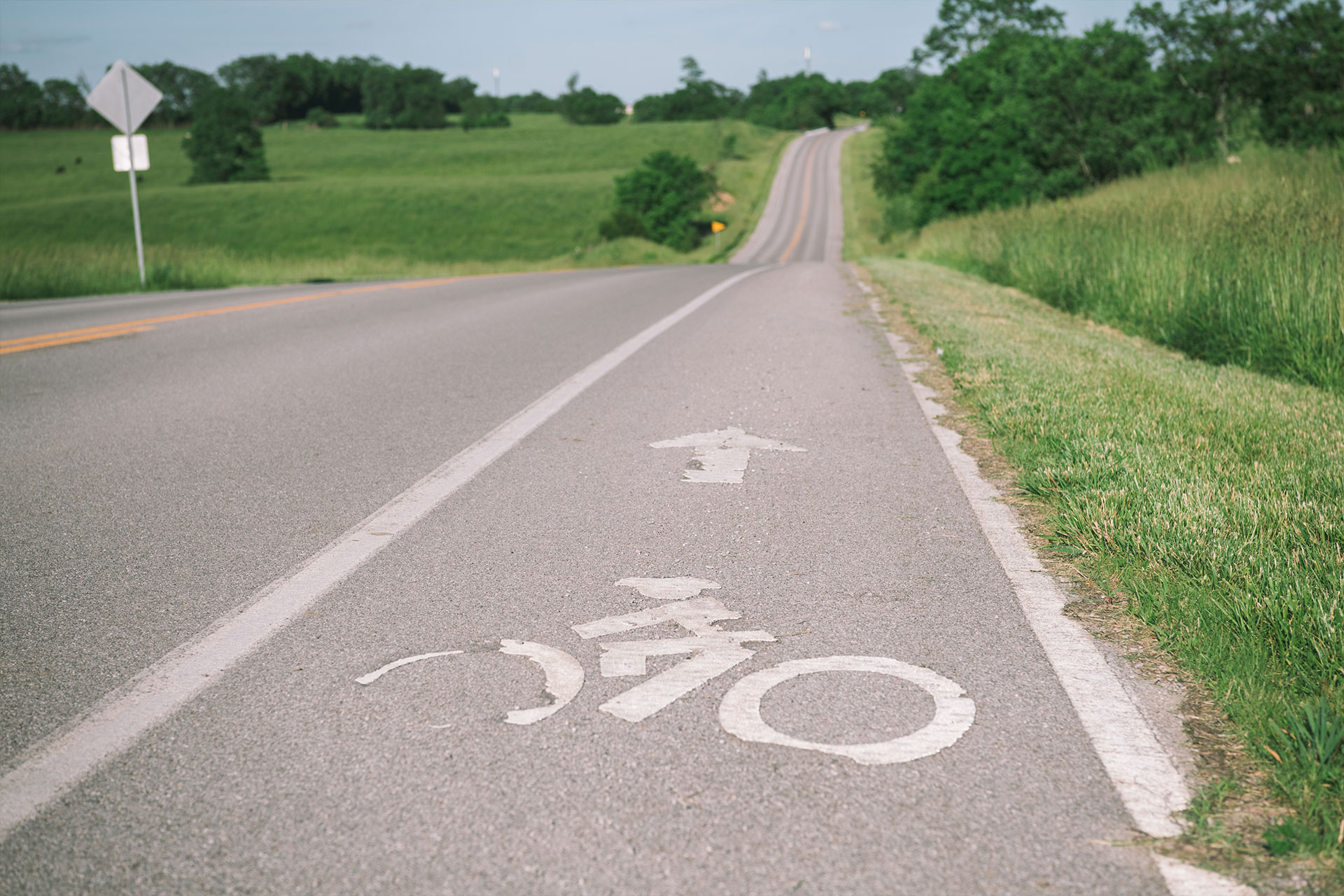Close up of the biking lane symbol painted on the road Patty likes to bike on. The road is surrounded by beautiful, grassy rolling hills.