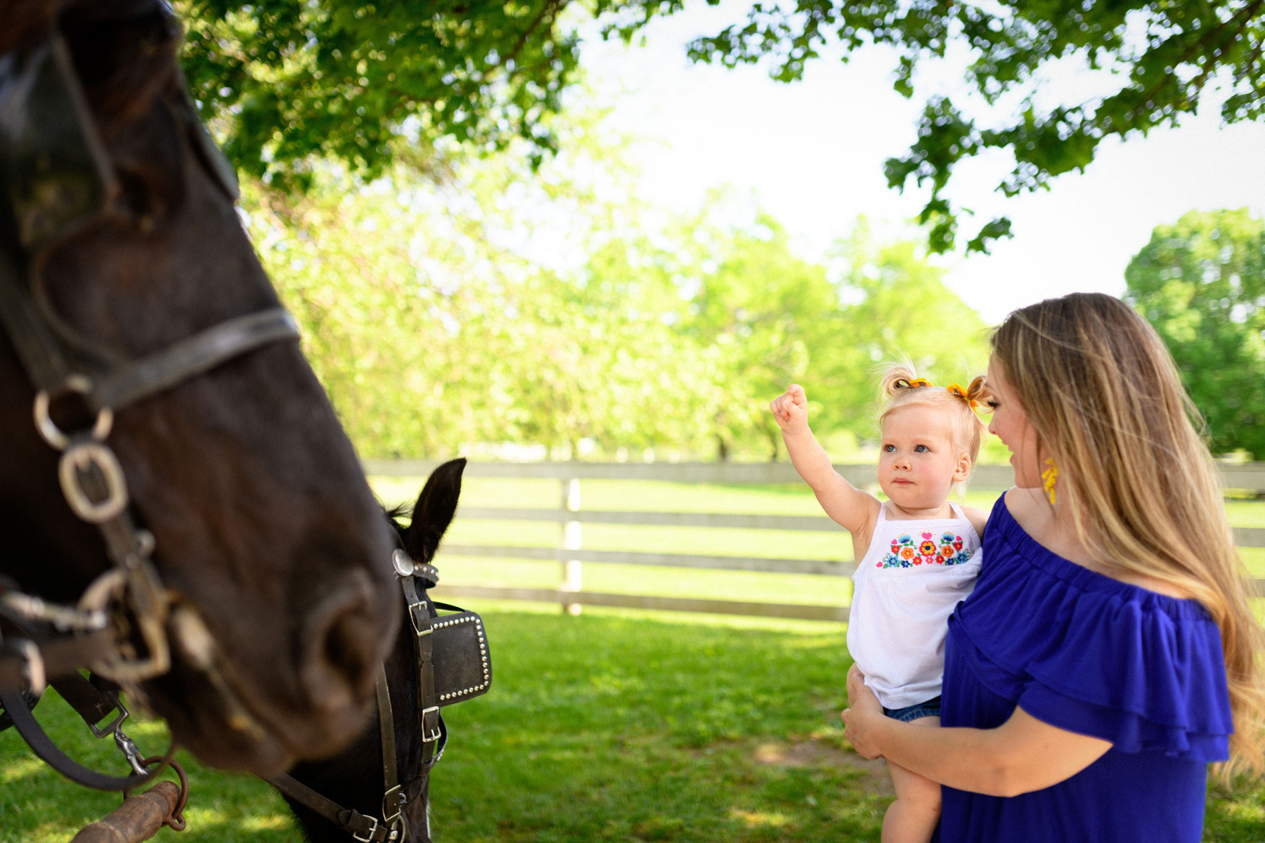 Courtney holds Jade as she points towards a horse.