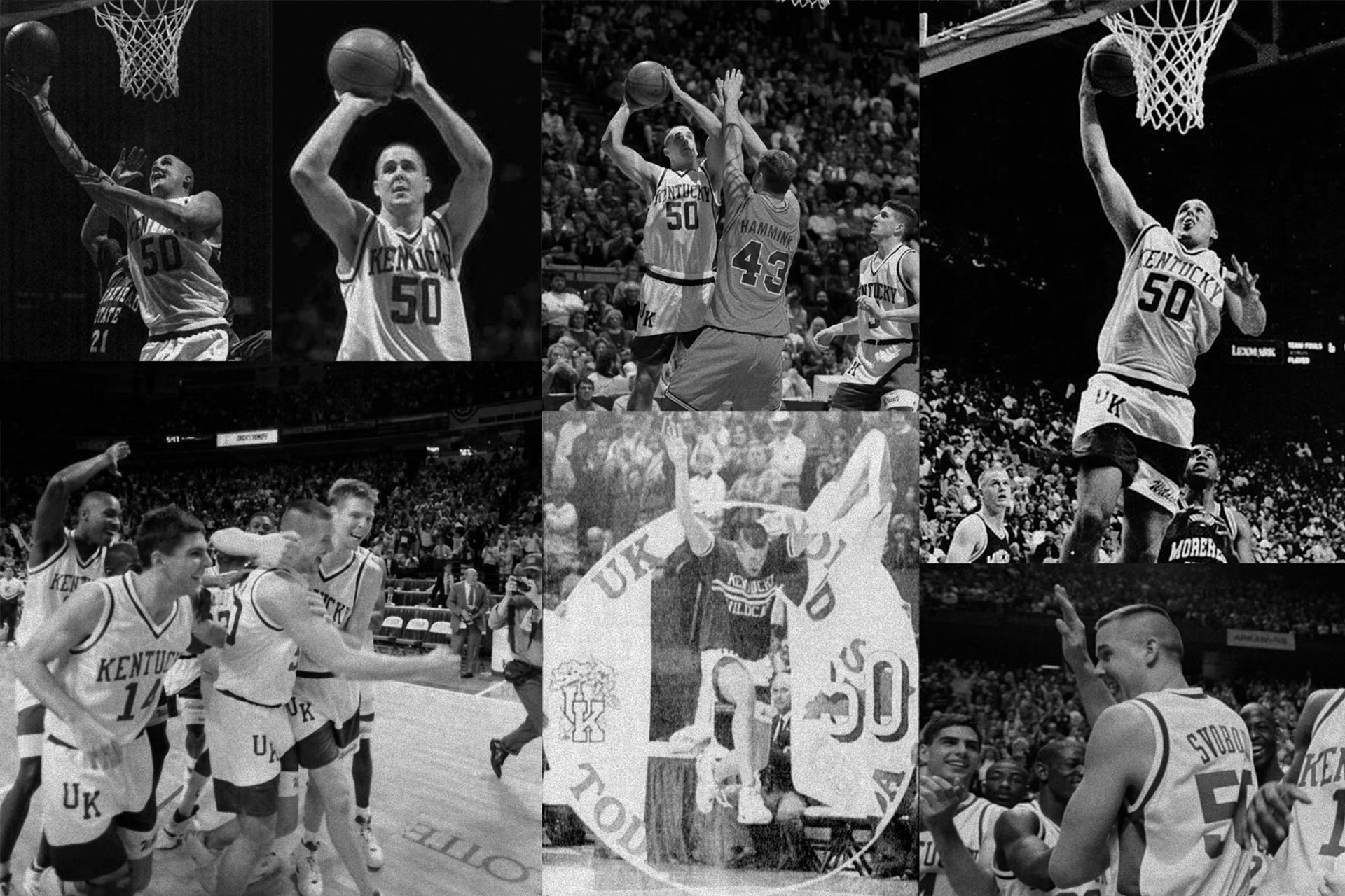 A black and white collage of photos of Todd playing basketball for the University of Kentucky.