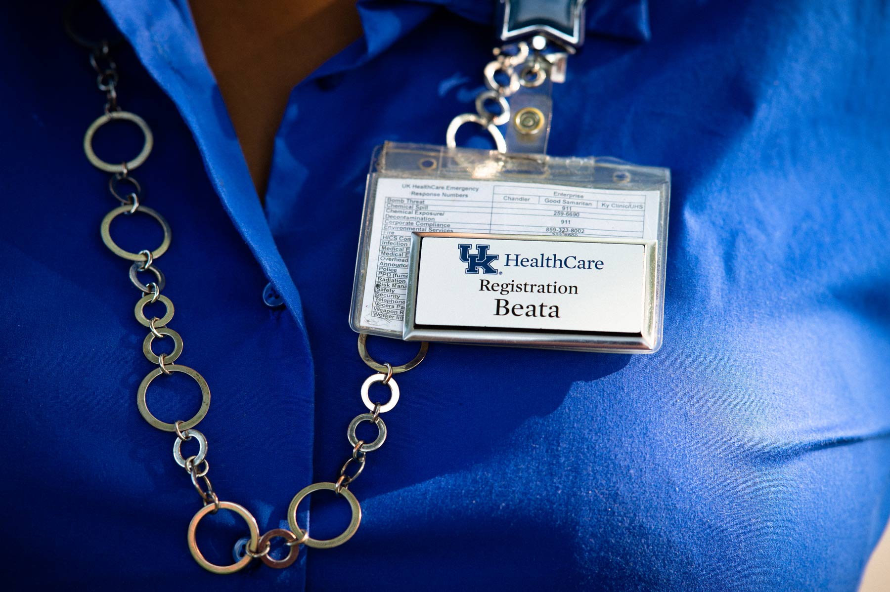 A close up of Beata's UK HealthCare Registration ID Badge.