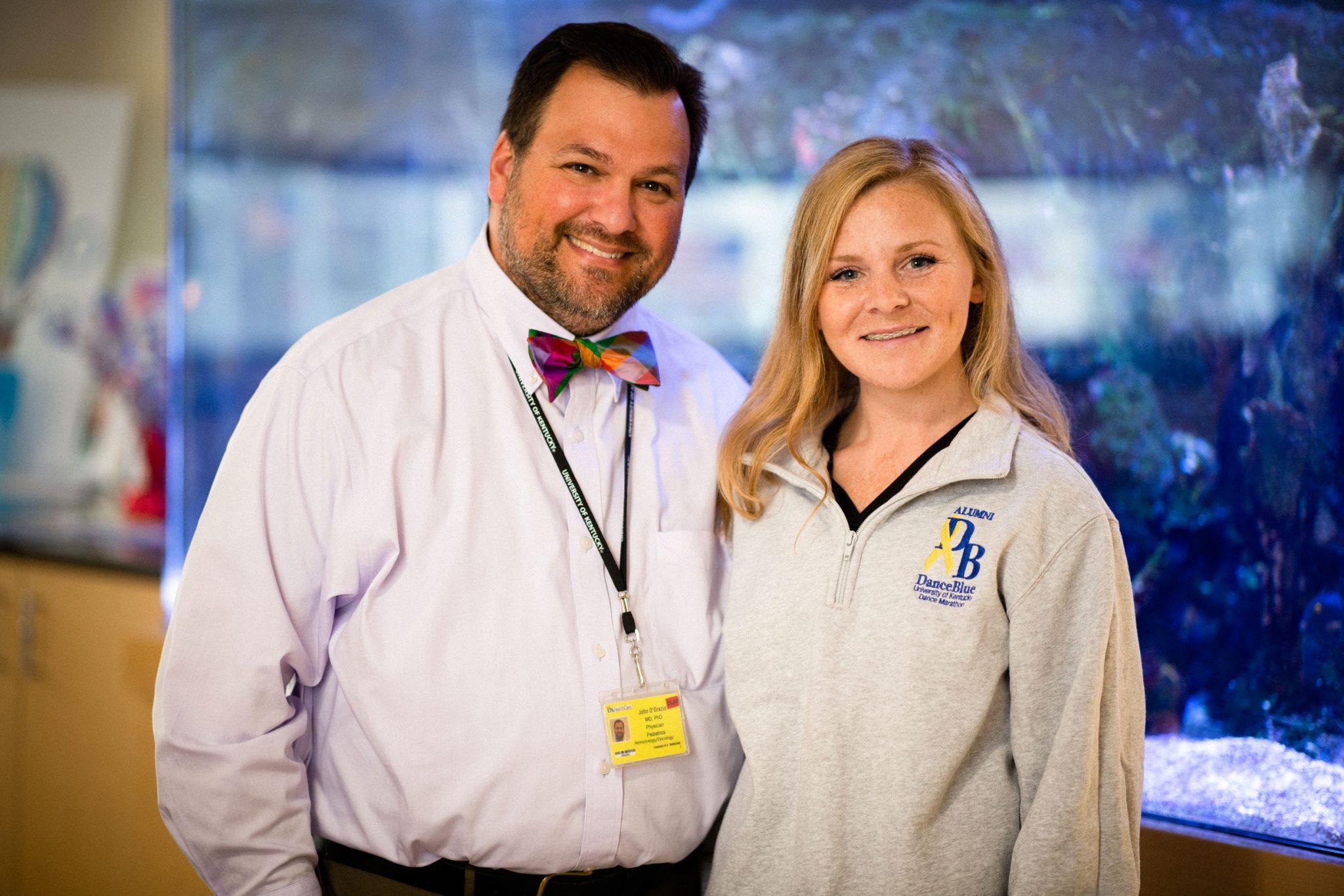 Dr. John D'Orazio with Christa at the DanceBlue clinic, where she volunteered.