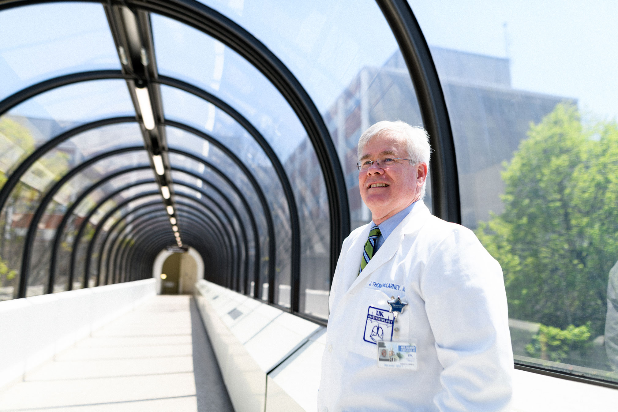 Dr. McLarney reflects on his heart attack on a walkway at UK HealthCare.