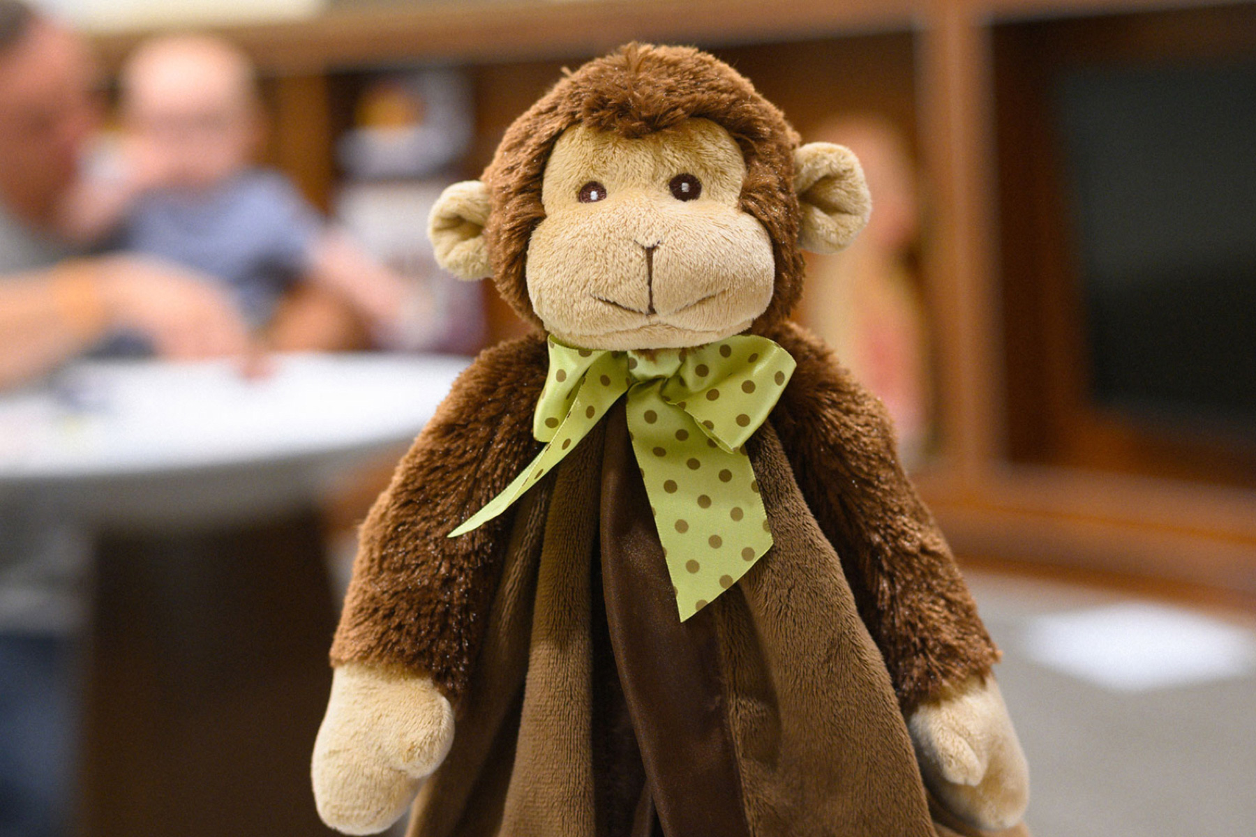Stinky Monkey - a stuffed monkey toy with a polka dot ribbon bow around his neck.