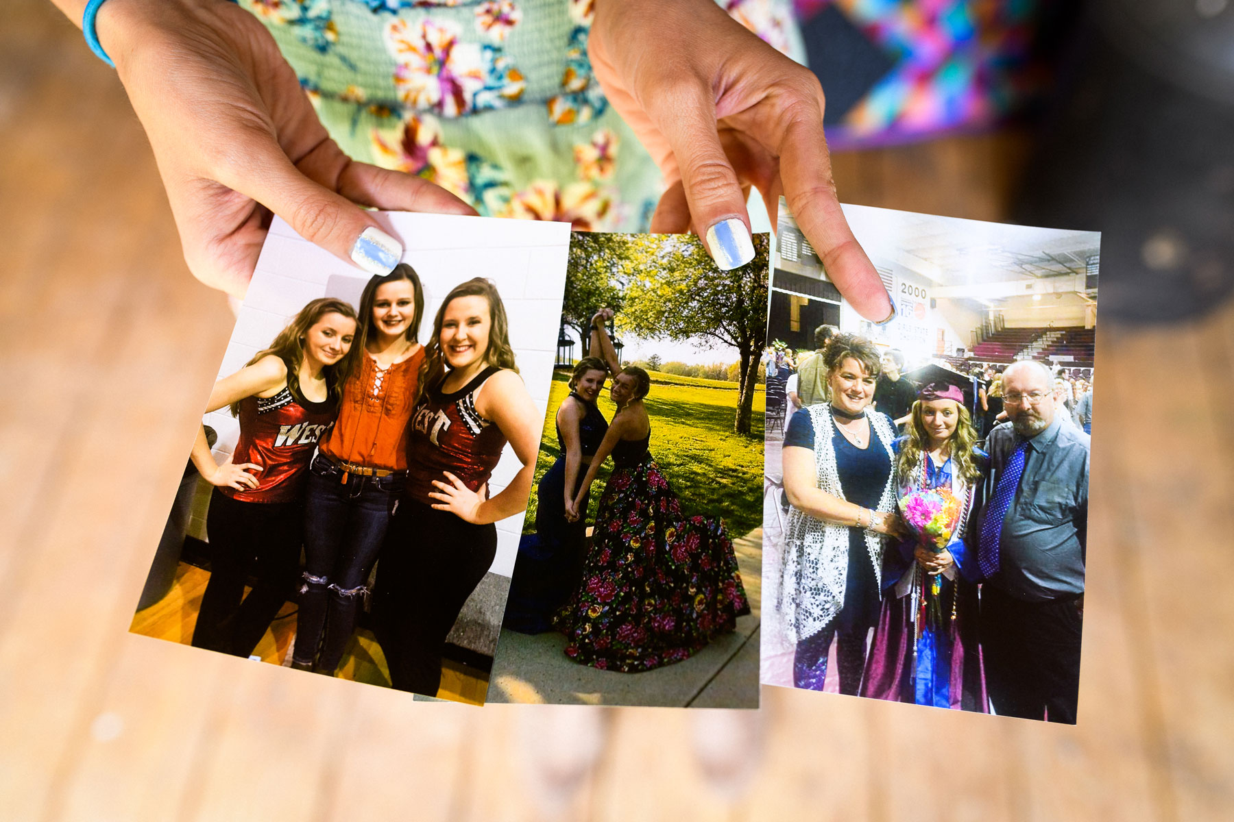 Breanna shows three photos of her and her friends and family during her time at high school.