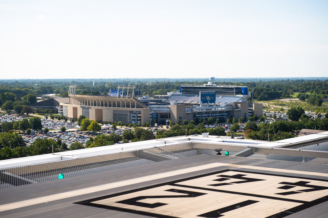 A view of the UK Football Stadium from the hospital helipad.