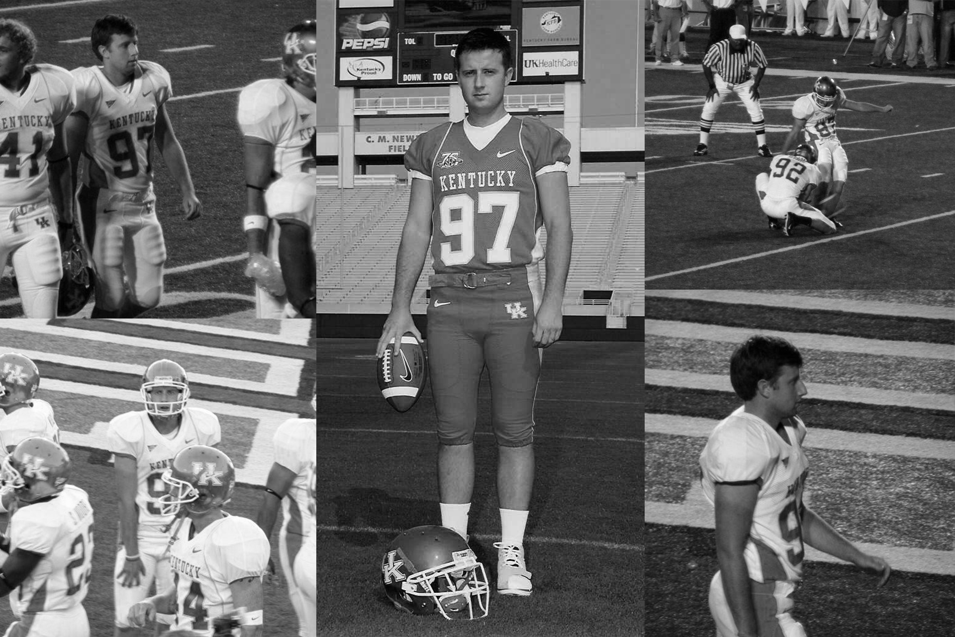 A black and white collage of photos showing JJ in his football uniform on the field playing.