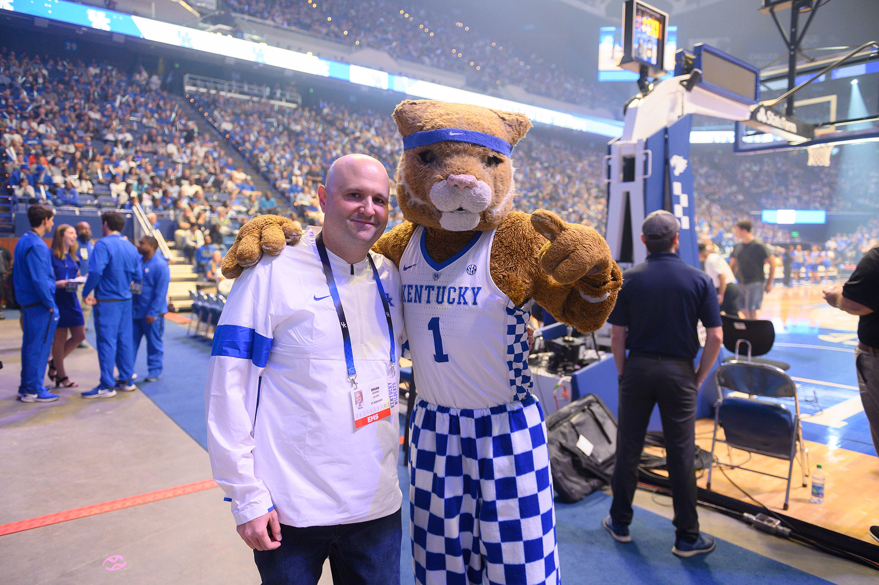 Dr. Adkin stops for a photo with the wildcat mascot.