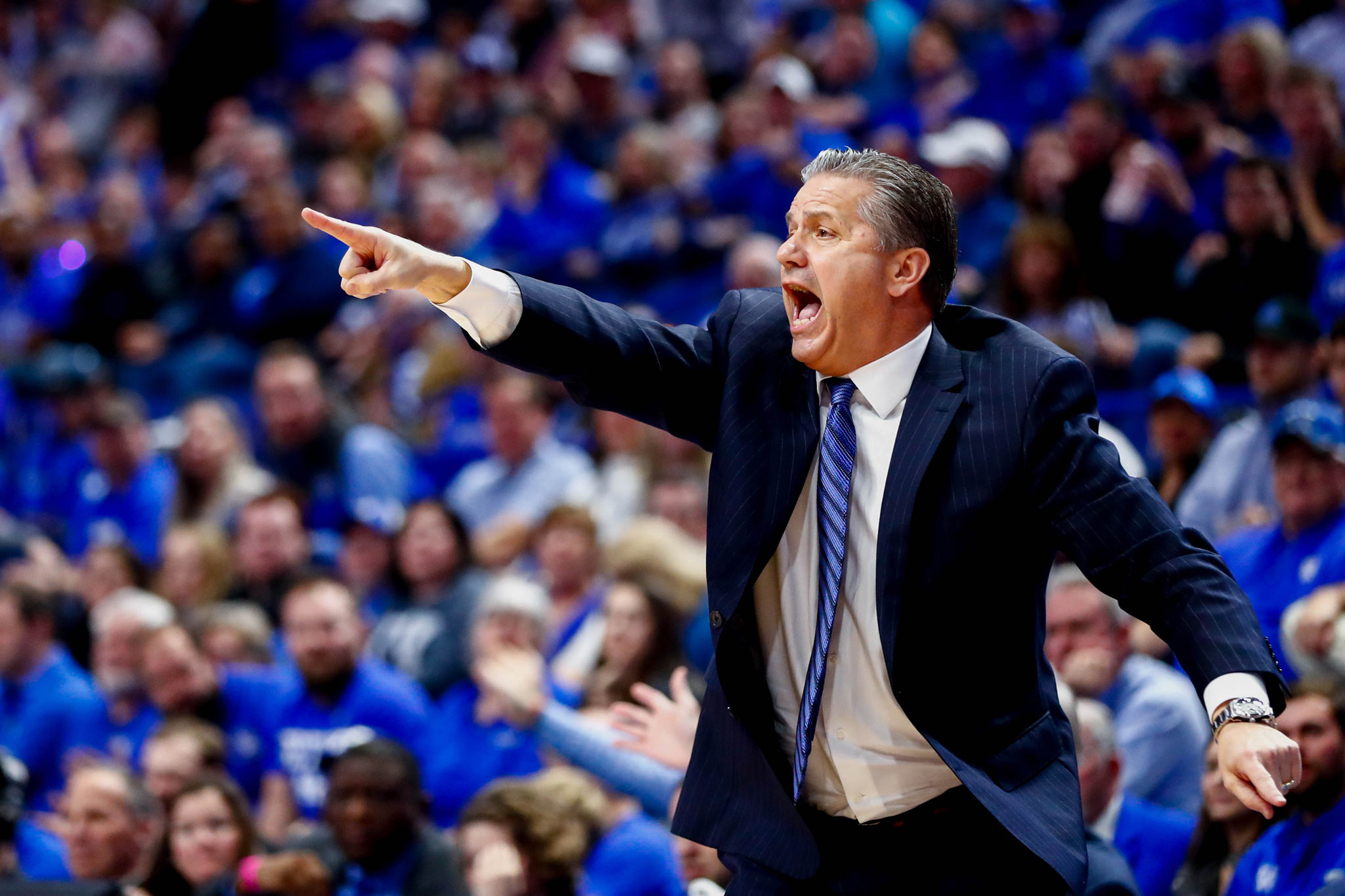 Coach Calipari yells excitedly and points during a game.