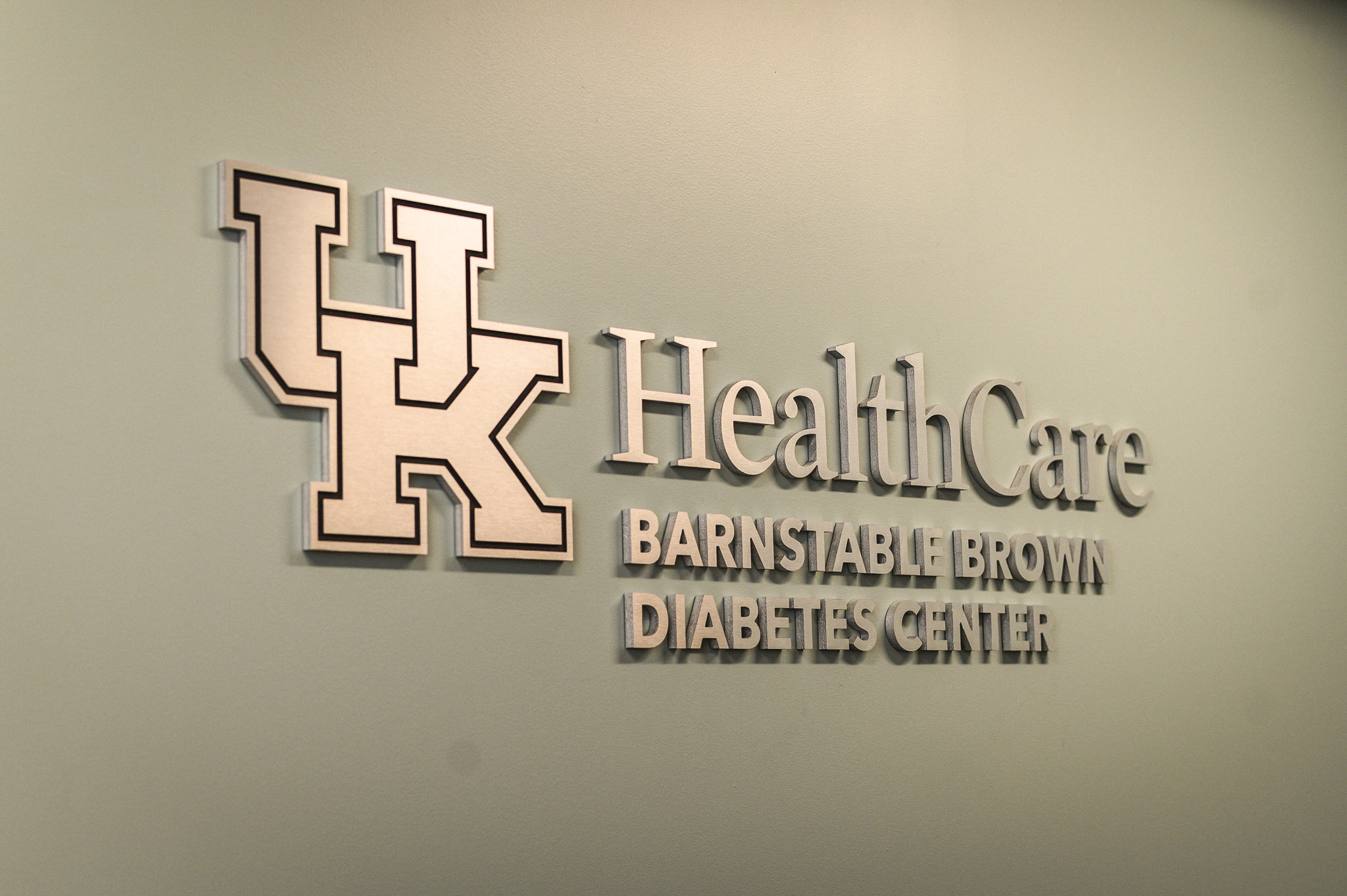 UK HealthCare Barnstable Brown Diabetes Center signage in a hallway.