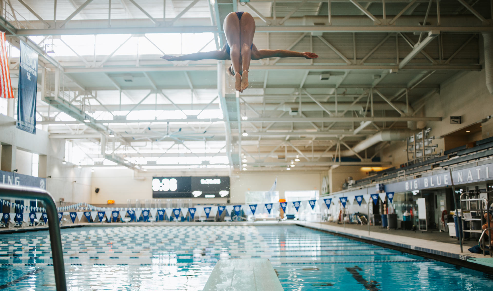 A photo of Jaida mid-dive, her head and feet meeting in the air as she flips into the pool.