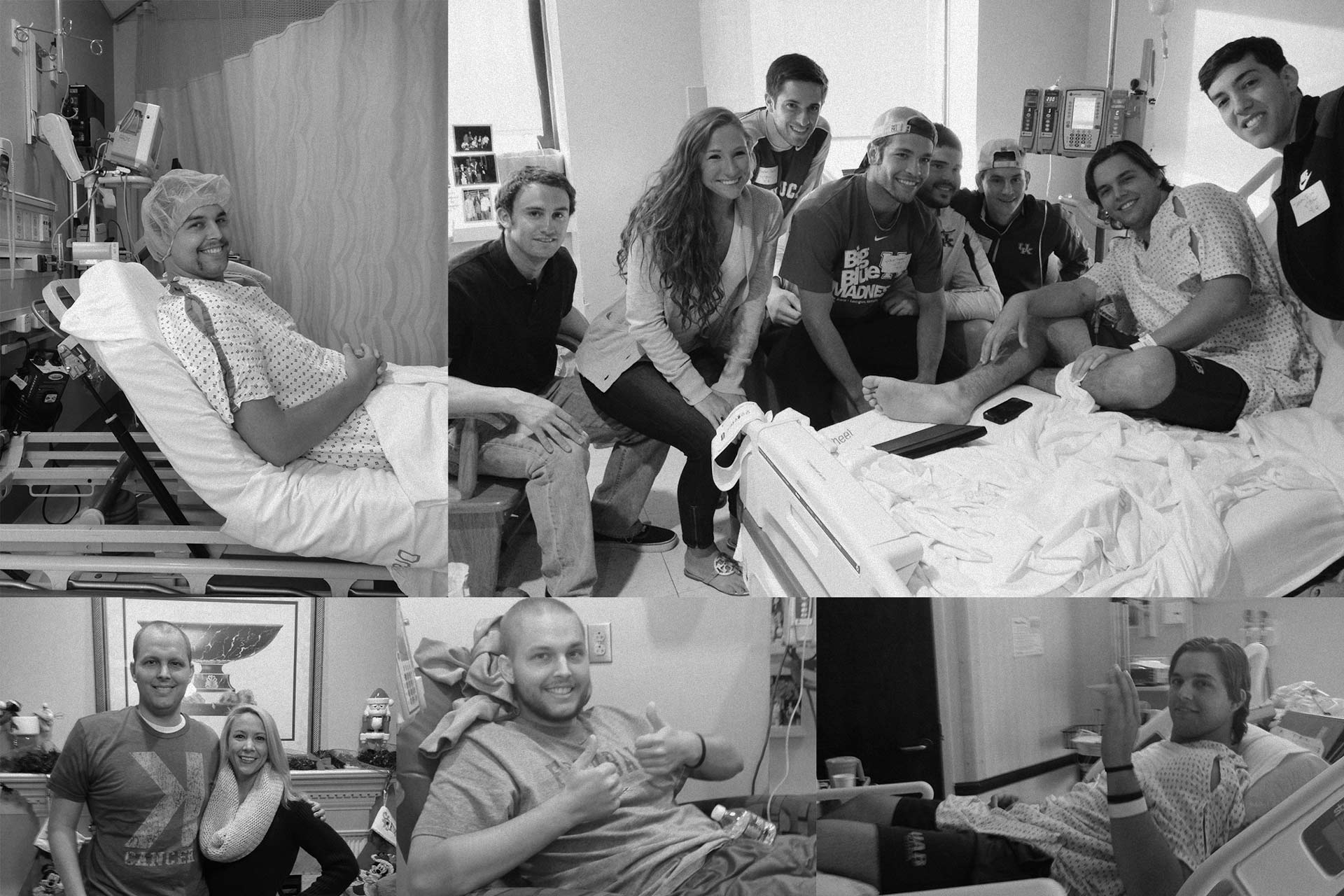 Grid of black-and-white images of Trent in the hospital during his treatments, showing friends visiting him. He is wearing a hospital gown and long brown hair in some images. In others, his hair is shaved off.
