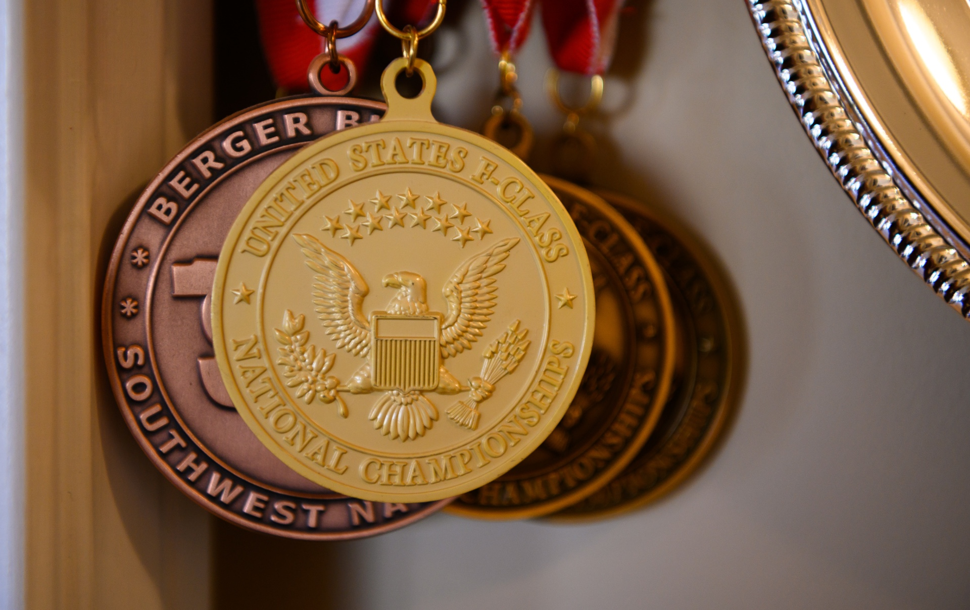 A close-up of medals from Addison's competitions, including the gold medal from the national championships.